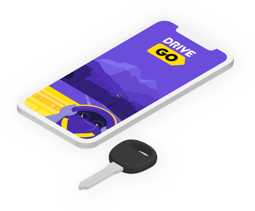 Phone with Drive Go mobile app and key